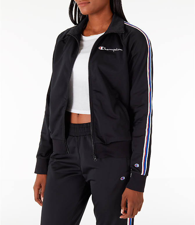 Front Three Quarter view of Women's Champion Track Jacket in Black