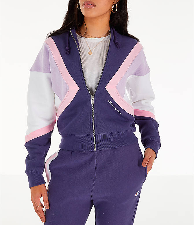 Front view of Women's Champion Reverse Weave Full-Zip Hoodie in Blue/White/Violet