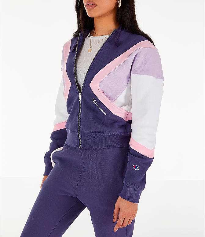 Front Three Quarter view of Women's Champion Reverse Weave Full-Zip Hoodie in Blue/White/Violet
