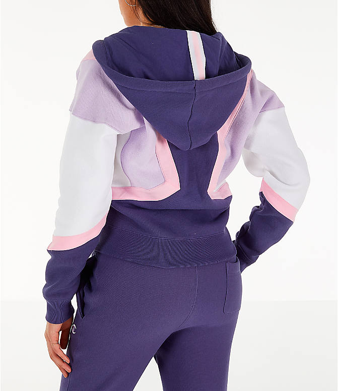 Back Left view of Women's Champion Reverse Weave Full-Zip Hoodie in Blue/White/Violet