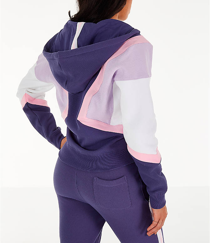 Back Right view of Women's Champion Reverse Weave Full-Zip Hoodie in Blue/White/Violet