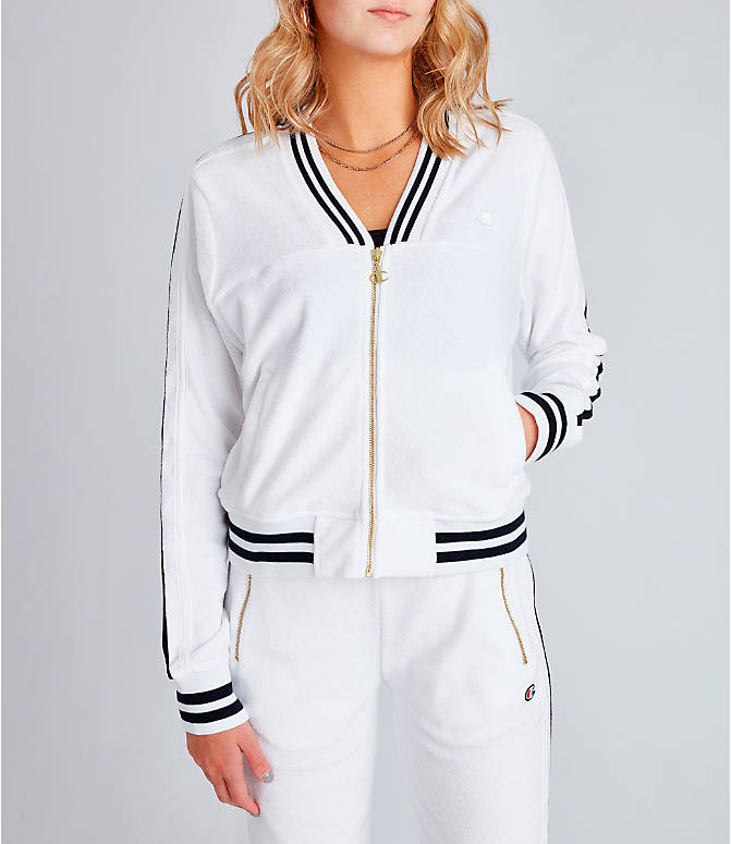 Front view of Women's Champion Life Warm-Up Terry Track Jacket in White
