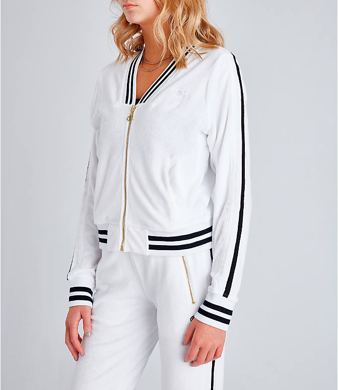 Front Three Quarter view of Women's Champion Life Warm-Up Terry Track Jacket in White