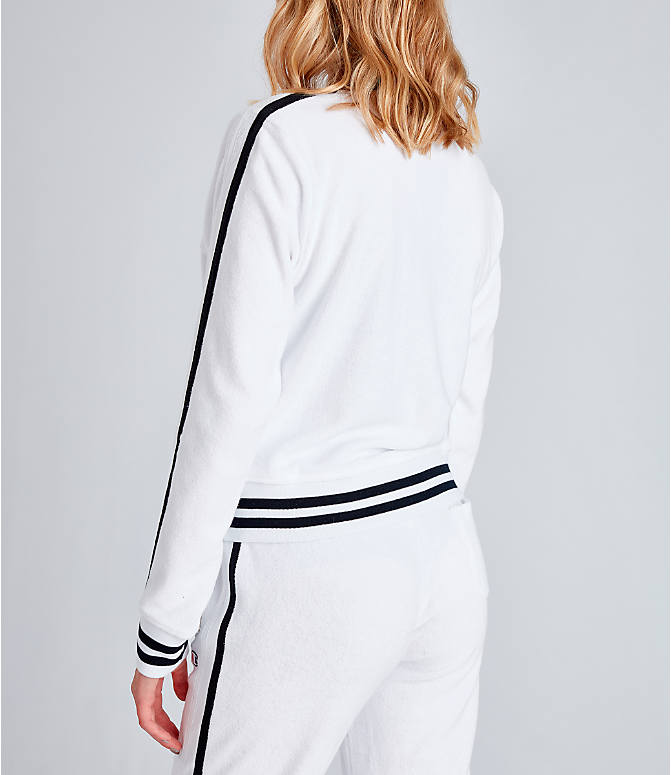 Back Left view of Women's Champion Life Warm-Up Terry Track Jacket in White