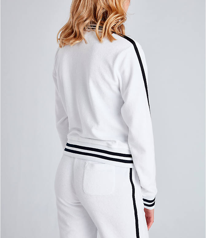 Back Right view of Women's Champion Life Warm-Up Terry Track Jacket in White