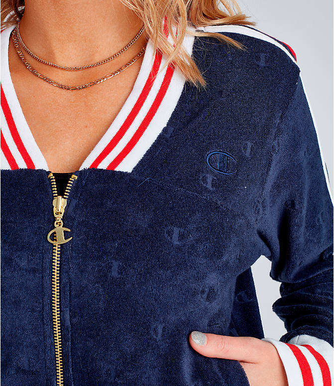 Detail 1 view of Women's Champion Life Warm-Up Terry Track Jacket in Imperial Indigo/Red
