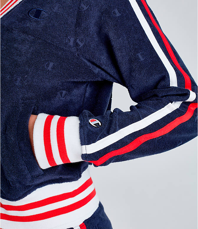 Detail 2 view of Women's Champion Life Warm-Up Terry Track Jacket in Imperial Indigo/Red