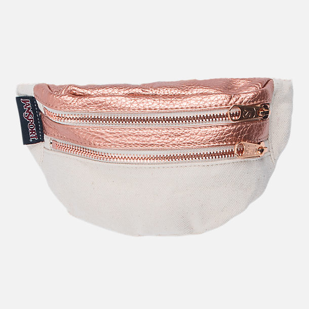 Front view of JanSport Hippyland Fanny Pack in Rose Gold