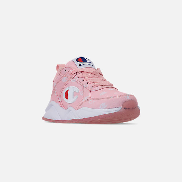 Three Quarter view of Girls' Little Kids' Champion 93Eighteen Queen C Casual Shoes in Pink/White