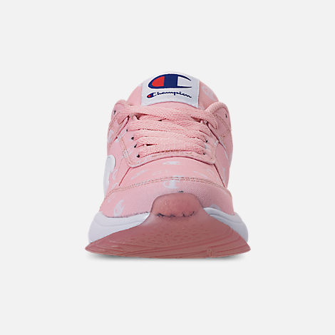 Front view of Girls' Little Kids' Champion 93Eighteen Queen C Casual Shoes in Pink/White
