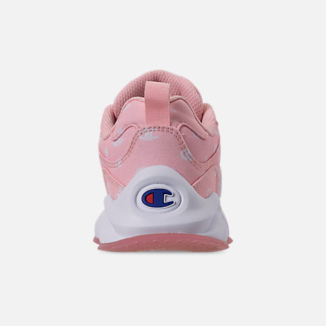 Back view of Girls' Little Kids' Champion 93Eighteen Queen C Casual Shoes in Pink/White