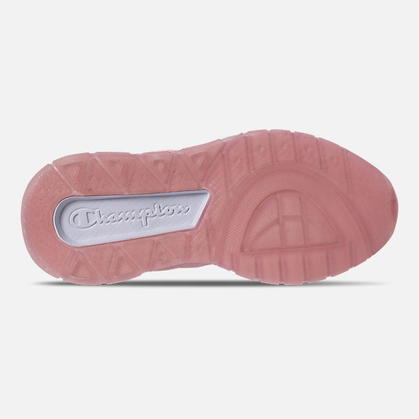 Bottom view of Girls' Little Kids' Champion 93Eighteen Queen C Casual Shoes in Pink/White