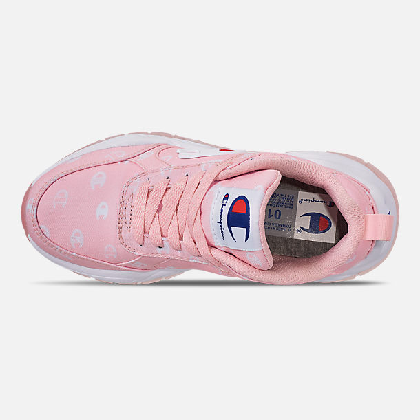 Top view of Girls' Little Kids' Champion 93Eighteen Queen C Casual Shoes in Pink/White