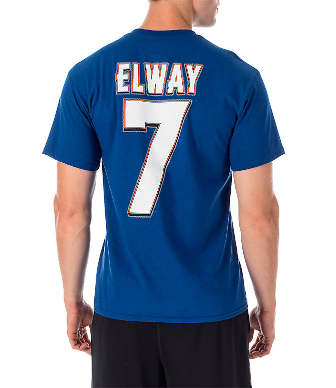 Front view of Men's Majestic Denver Broncos NFL John Elway Name and Number T-Shirt in Team Colors