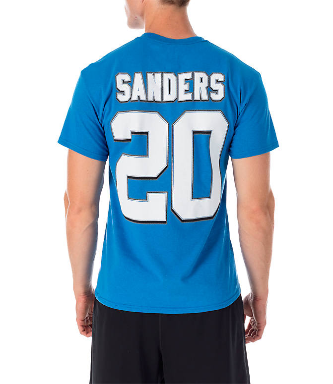 Front view of Men's Majestic Detroit Lions NFL Barry Sanders Name and Number T-Shirt in Team Colors