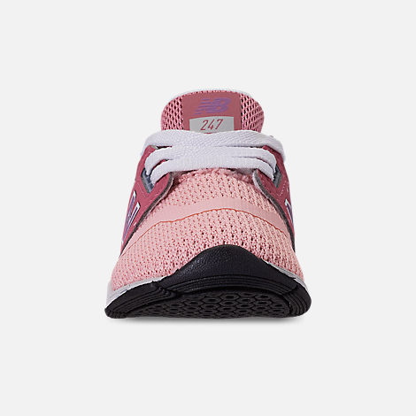 Front view of Girls' Toddler New Balance 247 Casual Shoes in Himalayan Pink/Pink/White