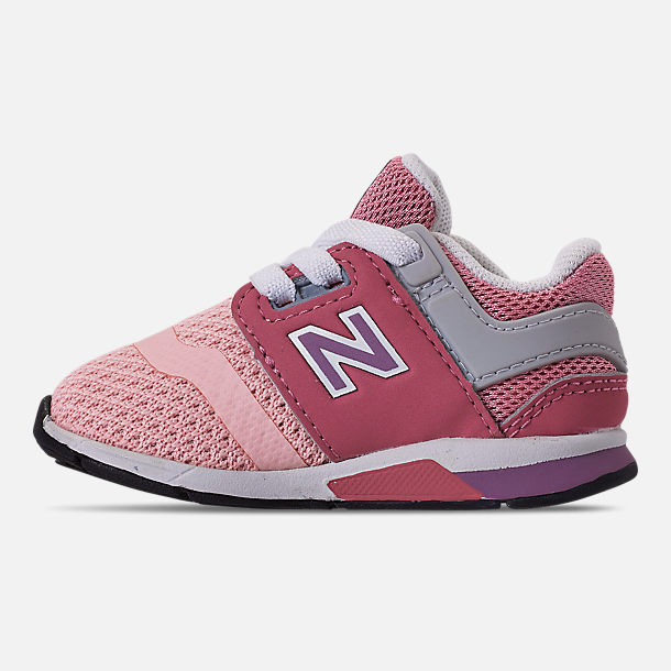 Left view of Girls' Toddler New Balance 247 Casual Shoes in Himalayan Pink/Pink/White