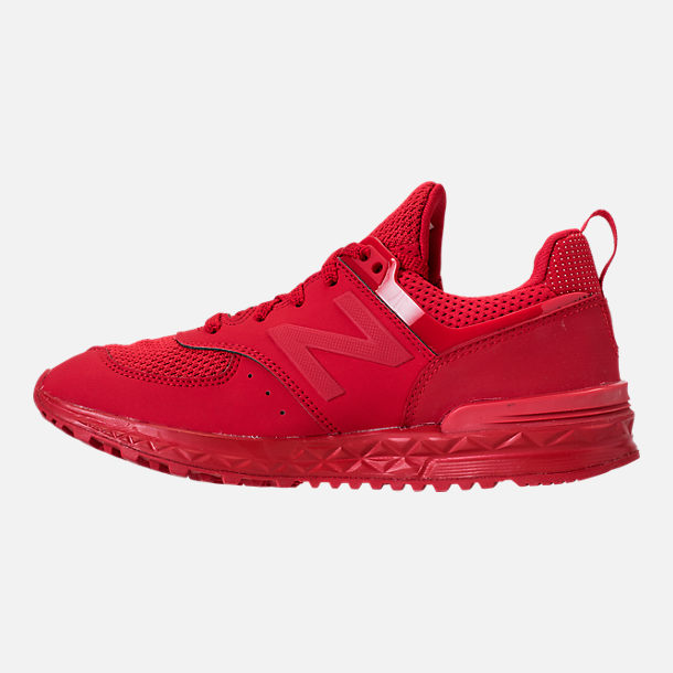 Left view of Boys' Grade School New Balance 574 Sport Casual Shoes in Red/Red