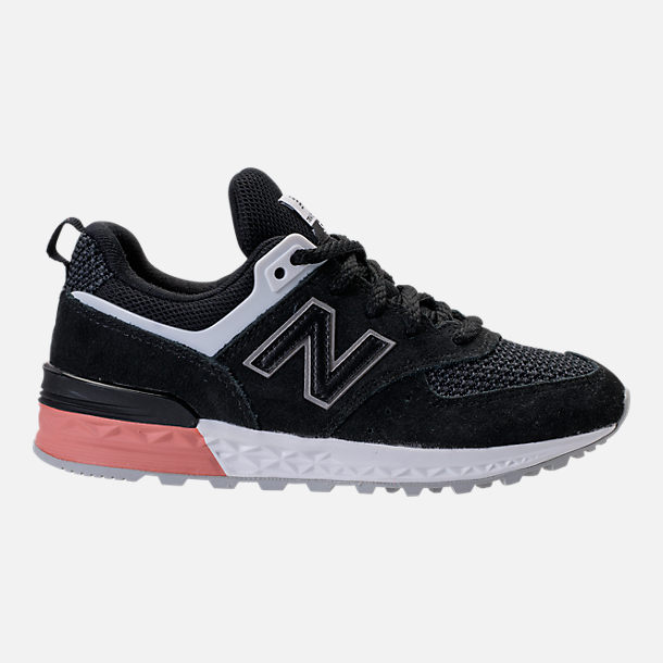 Right view of Boys' Grade School New Balance 574 Sport Casual Shoes in Black/Pink