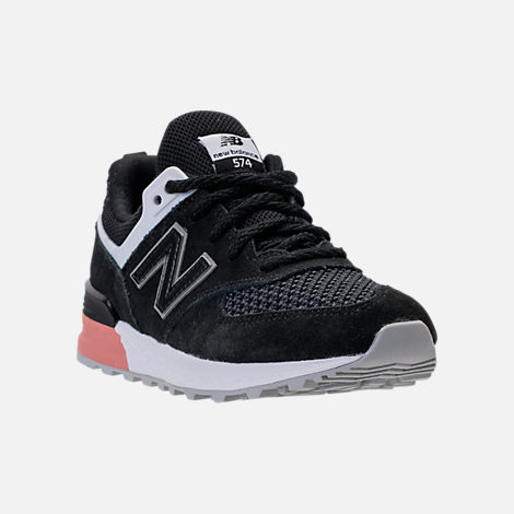Three Quarter view of Boys' Grade School New Balance 574 Sport Casual Shoes in Black/Pink