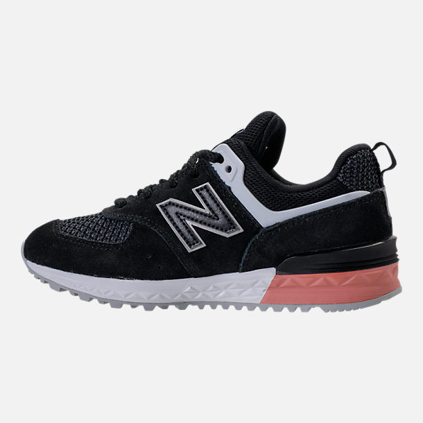 Left view of Boys' Grade School New Balance 574 Sport Casual Shoes in Black/Pink