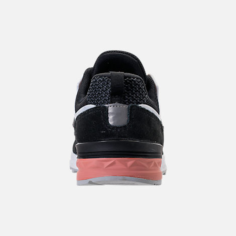 Back view of Boys' Grade School New Balance 574 Sport Casual Shoes in Black/Pink