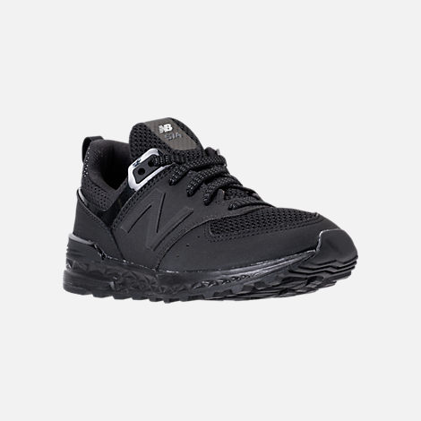 Three Quarter view of Boys' Preschool New Balance 574 Sport Casual Shoes in Black/Black