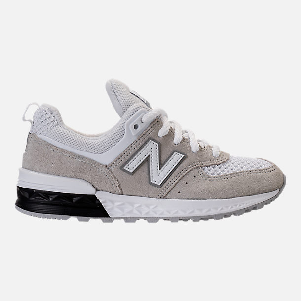 Right view of Boys' Grade School New Balance 574 Sport Casual Shoes in White/Grey