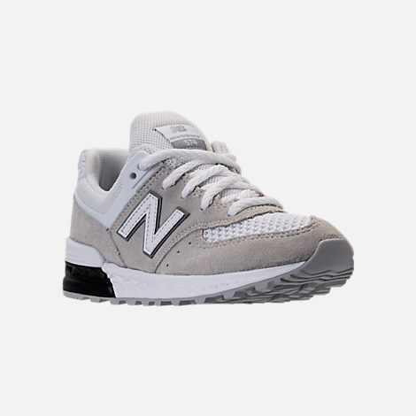 Three Quarter view of Boys' Grade School New Balance 574 Sport Casual Shoes in White/Grey