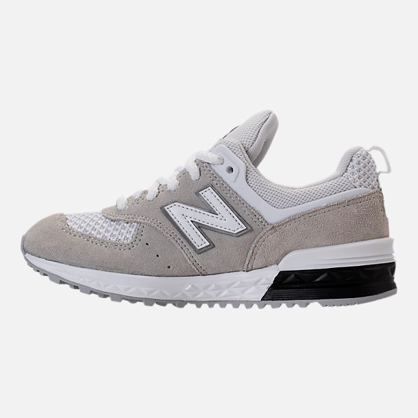 Left view of Boys' Grade School New Balance 574 Sport Casual Shoes in White/Grey
