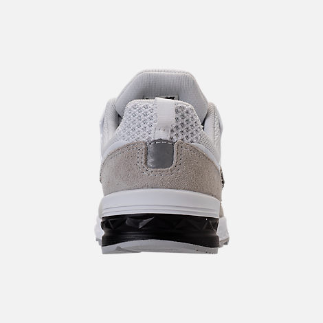 Back view of Boys' Grade School New Balance 574 Sport Casual Shoes in White/Grey