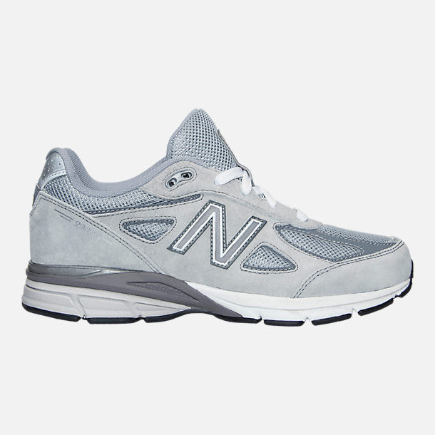 Right view of Boys' Grade School New Balance 990 V4 Running Shoes in Grey/Grey