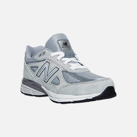 Three Quarter view of Boys' Grade School New Balance 990 V4 Running Shoes  in Grey