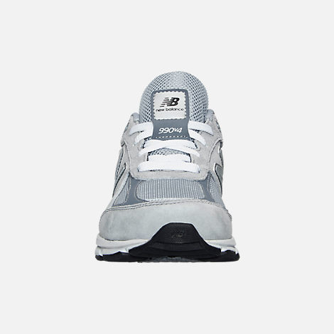 Front view of Boys' Grade School New Balance 990 V4 Running Shoes in Grey/Grey