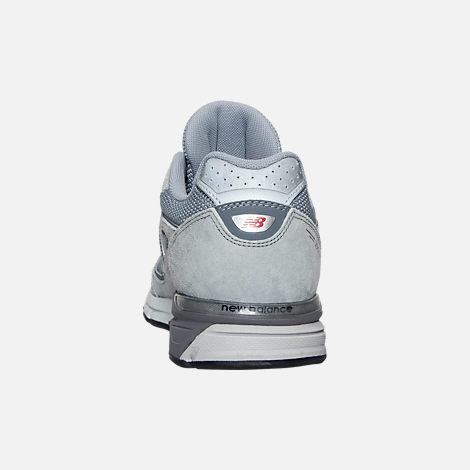 Back view of Boys' Grade School New Balance 990 V4 Running Shoes in Grey/Grey