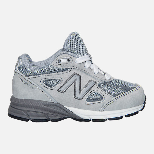 Right view of Boys' Toddler New Balance 990 V4 Running Shoes in Grey/Grey