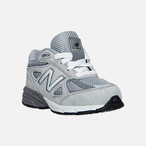 Three Quarter view of Boys' Toddler New Balance 990 V4 Running Shoes in Grey/Grey