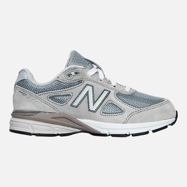 Right view of Boys' Little Kids' New Balance 990 V4 Running Shoes in Grey/Grey