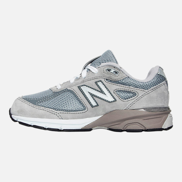 Left view of Boys' Little Kids' New Balance 990 V4 Running Shoes in Grey/Grey