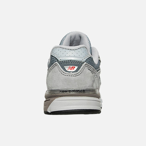 Back view of Boys' Little Kids' New Balance 990 V4 Running Shoes in Grey/Grey