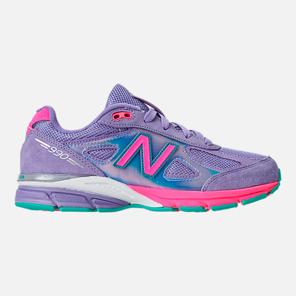 Right view of Girls' Grade School New Balance 990 V4 Running Shoes in Purple/Pink