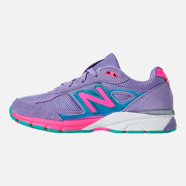Left view of Girls' Grade School New Balance 990 V4 Running Shoes in Purple/Pink