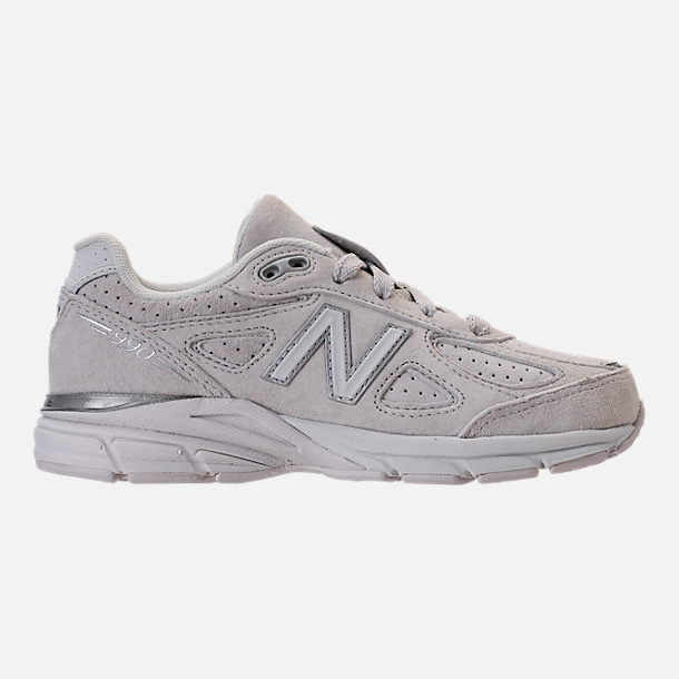 Right view of Girls' Big Kids' New Balance 990 V4 Running Shoes in Grey/White