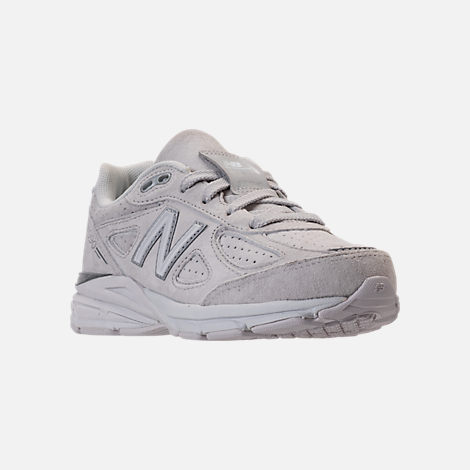Three Quarter view of Girls' Big Kids' New Balance 990 V4 Running Shoes in Grey/White