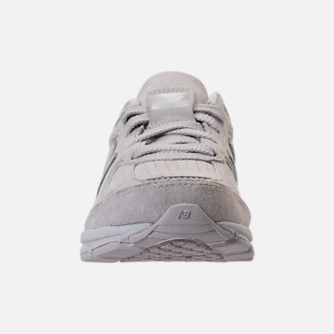 Front view of Girls' Big Kids' New Balance 990 V4 Running Shoes in Grey/White