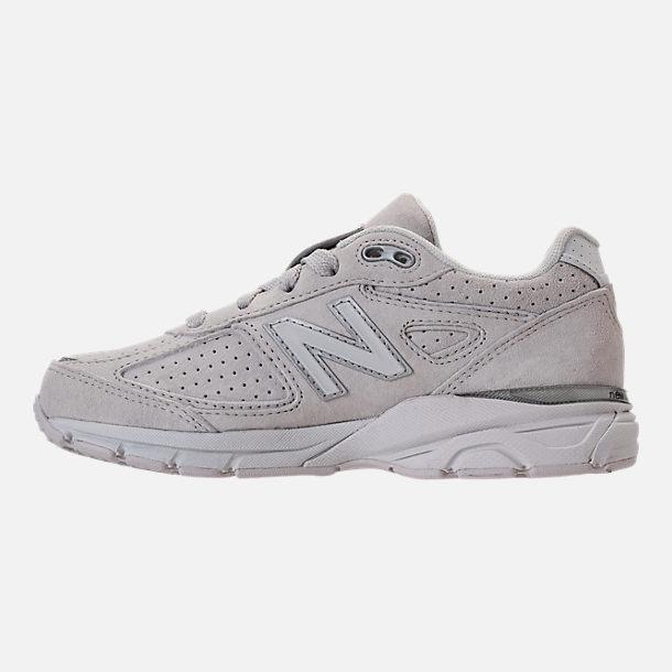 Left view of Girls' Big Kids' New Balance 990 V4 Running Shoes in Grey/White