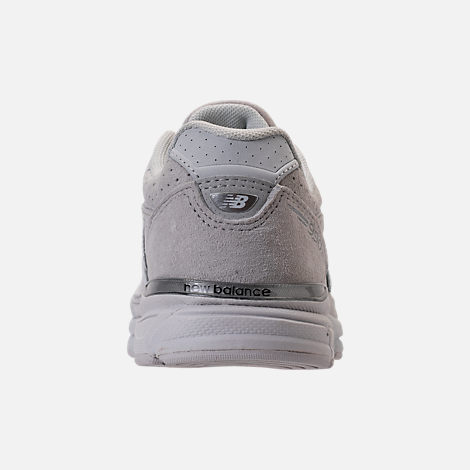 Back view of Girls' Big Kids' New Balance 990 V4 Running Shoes in Grey/White