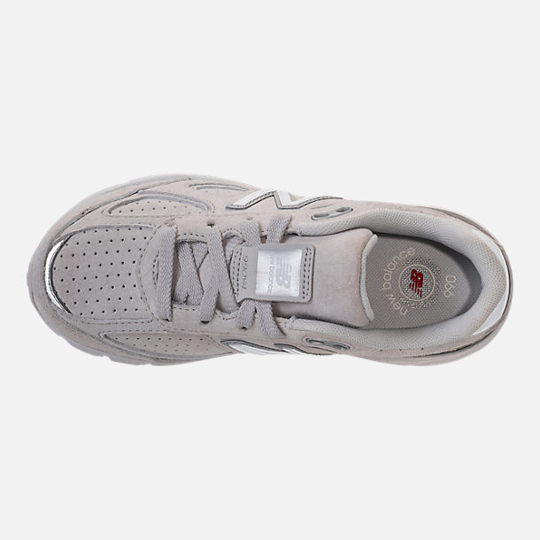 Top view of Girls' Big Kids' New Balance 990 V4 Running Shoes in Grey/White