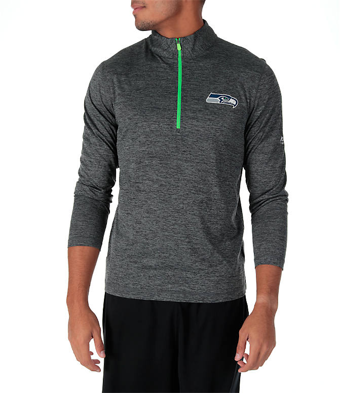 Front view of Men's Majestic Seattle Seahawks NFL Intimidating Half-Zip Training Shirt in Heather Charcoal/Team