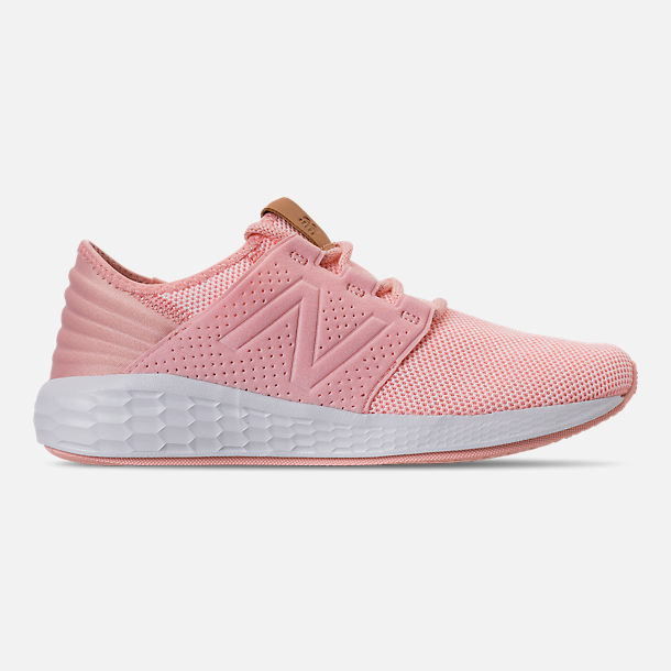 Right view of Girls' Grade School New Balance Fresh Foam Cruz V2 Running Shoes in Pink